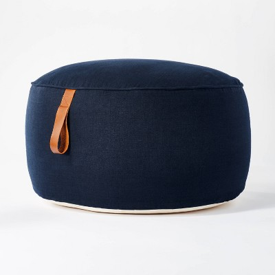 Pouf with Leather Loop Handle Navy - Threshold™ designed with Studio McGee
