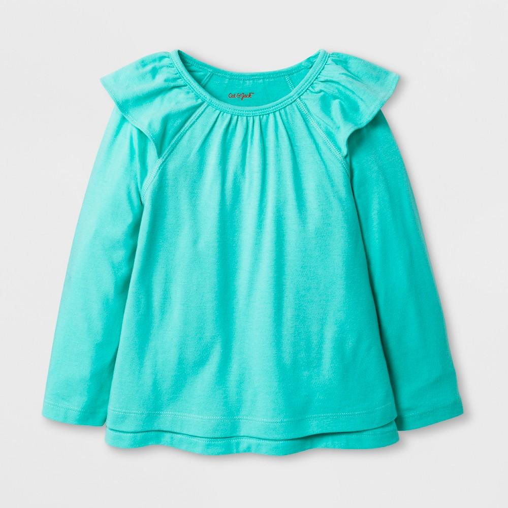Toddler Girls' Adaptive Long Sleeve Ruffle Top - Cat & Jack Mint Green 3T