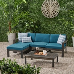 5pc Santa Ana Acacia Wood Patio Sofa Sectional Set - Christopher Knight Home