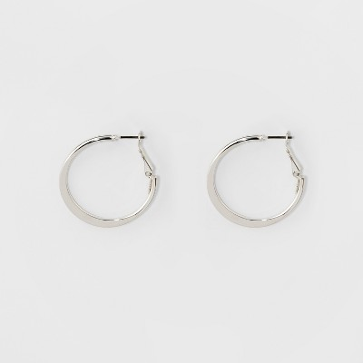 Medium Flat Hoop Earrings - A New Day™ Silver