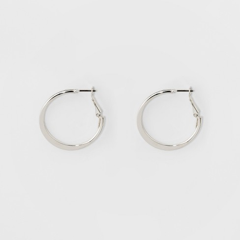Medium Flat Hoop Earrings - A New Day™ Silver - image 1 of 1