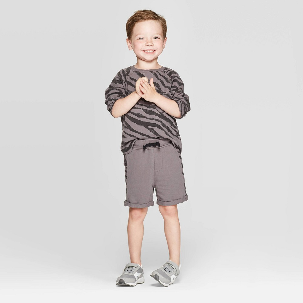 Image of Toddler Boys' Long Sleeve Tiger Print Top and Knit Shorts Set - art class Gray 18 M, Toddler Boy's, Size: 18M
