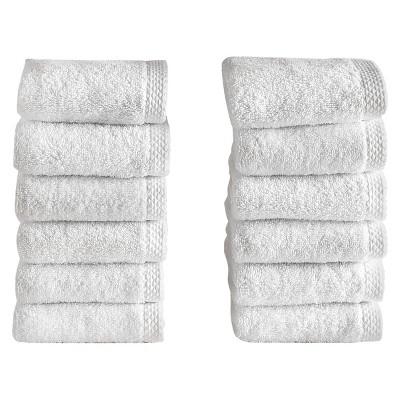 12pc Hotel Collection Washcloth Set White – Makroteks