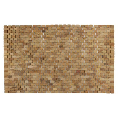 Oversized Woven Teak Bath and Shower Mat (Indoor or Outdoor)- Brown - (34  x 21  x .28 )- Hip-o Modern Living