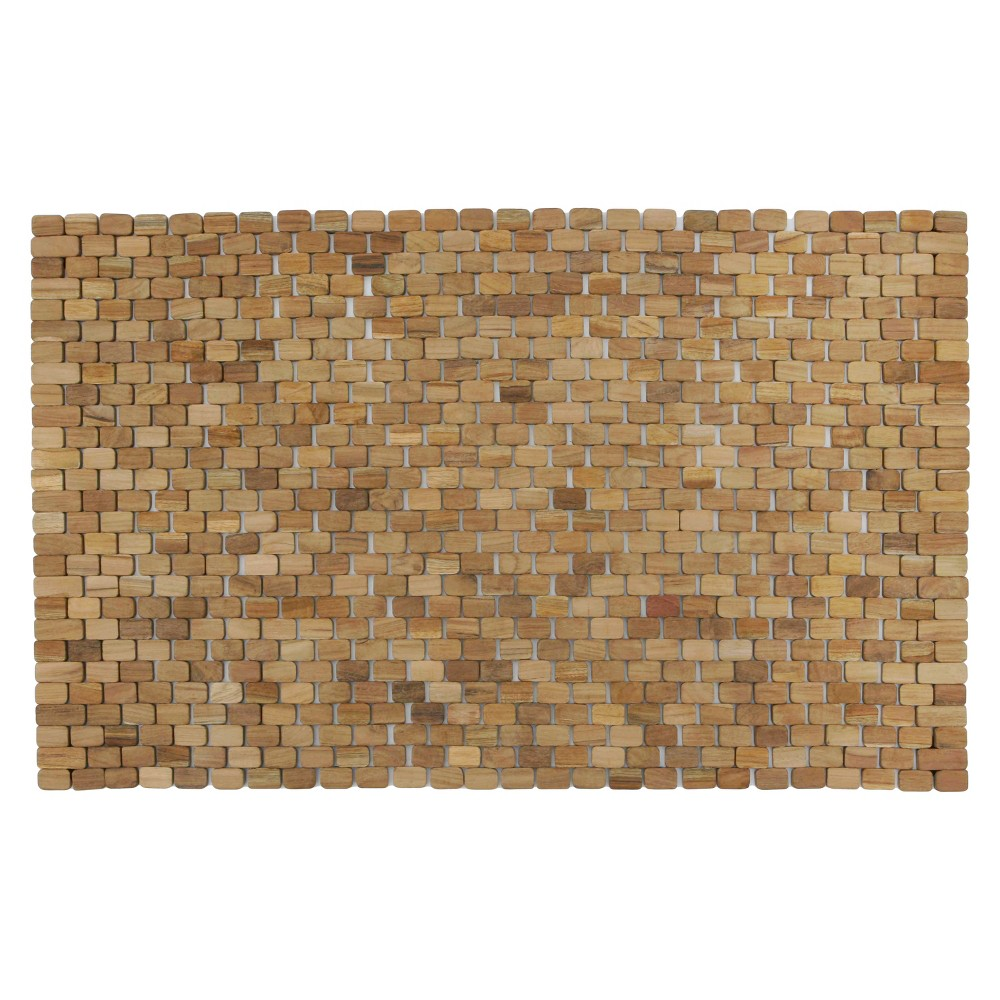 "Image of ""Oversized Woven Teak Bath and Shower Mat (Indoor or Outdoor) - Brown - (34 x 21"""" x .28"""") - Hip-o Modern Living, Beige"""