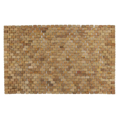 Oversized Woven Teak Bath and Shower Mat (Indoor or Outdoor) - Brown ...