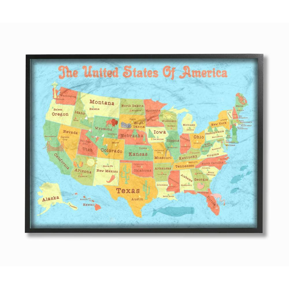 Best Price 16x15x20 United States Of America Usa Kids Map Oversized Framed Giclee Texturized Art Stupell Industries Multicolored