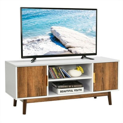 Costway TV Stand Entertainment Media Console w/2 Storage Cabinets & Open Shelves