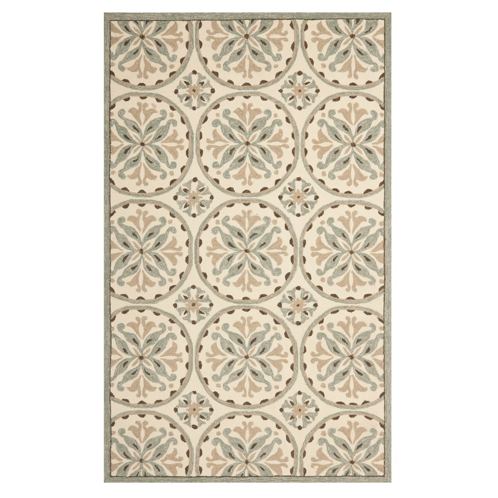 Green/Brown Medallion Hooked Accent Rug 3'6