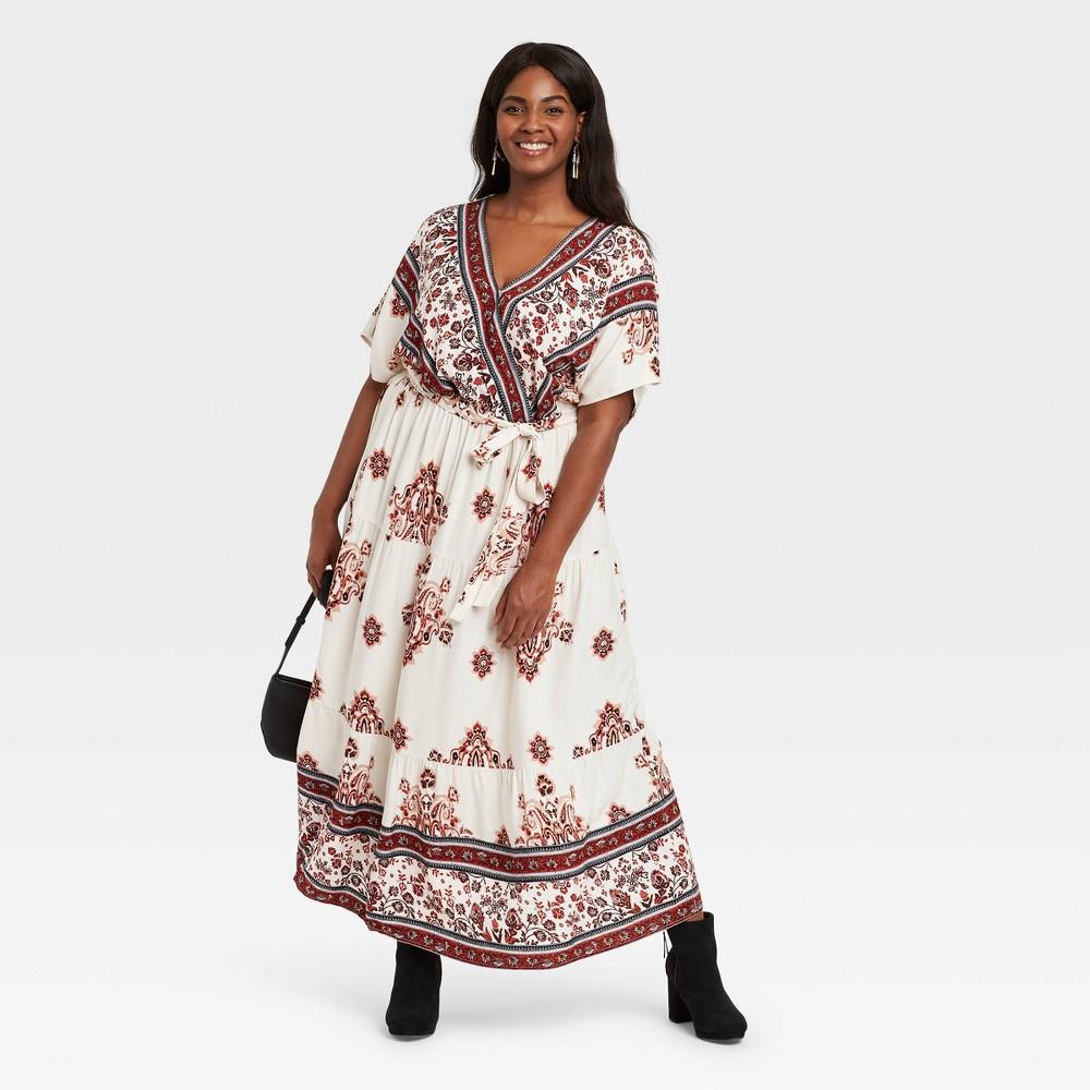 Women 39 S Plus Size Floral Print Short Sleeve Wrap Dress Knox Rose 8482 White 3x