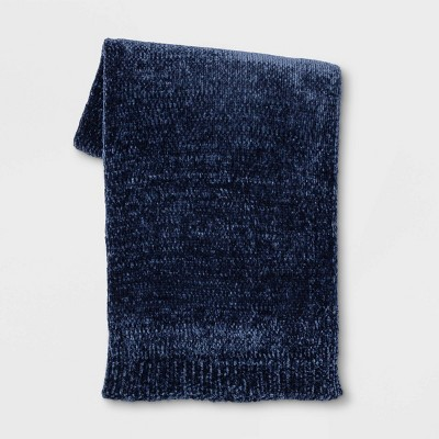 "50""x60"" Shiny Chenille Throw Blanket Navy - Project 62™"
