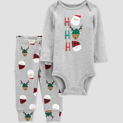 Baby 2pc Christmas Santa Top and Bottom Set - Just One You® made by carter's Gray 12M