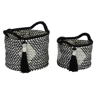 Olivia & May Set of 2 Large Round Cotton Rope Storage Baskets with Diamond Design and Decorative Tassels