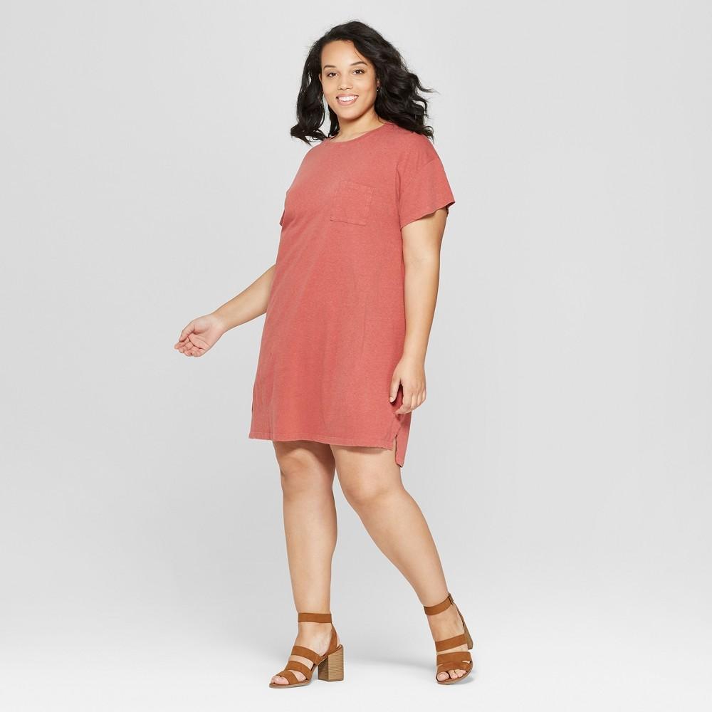 Women's Plus Size Short Sleeve Crew Neck T-Shirt Dress - Universal Thread Rose 2X, Pink
