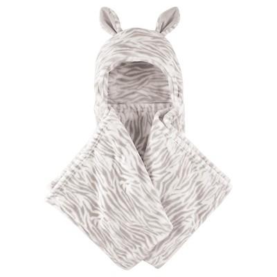 Hudson Baby Coral Fleece Hooded Blanket - Gray Zebra