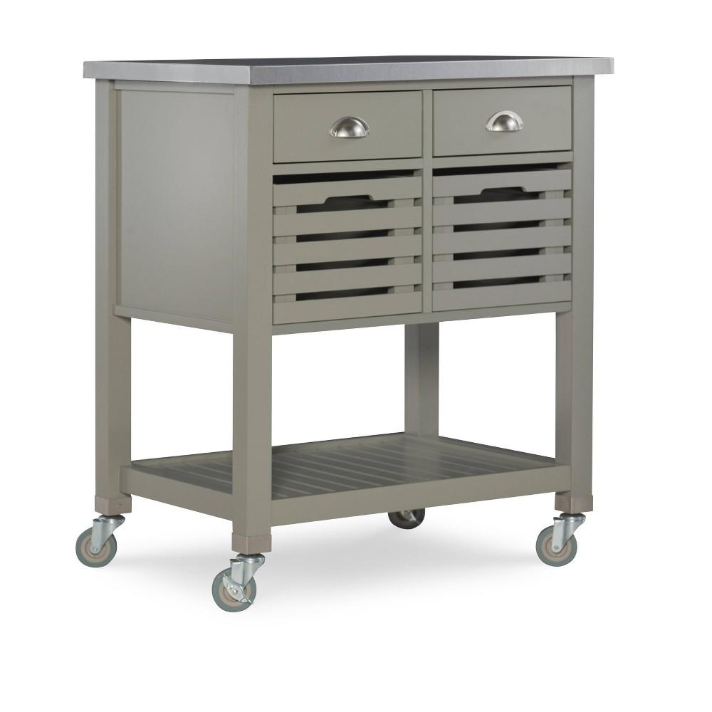 Robbin Kitchen Cart Gray Wood Linon