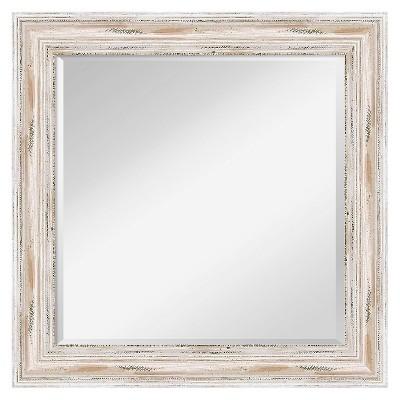 Square Alexandria Decorative Wall Mirror White - Amanti Art