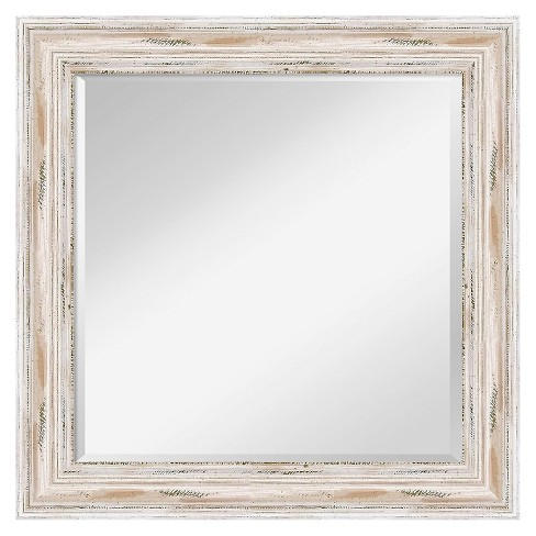 Square Alexandria Decorative Wall Mirror White Amanti Art