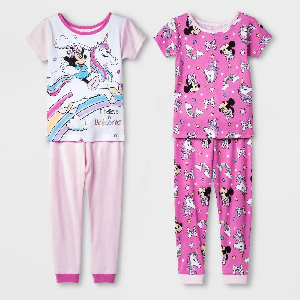 Image of Baby Girls' 4pc Disney Minnie Mouse 100% Cotton Pajama Set - Pink/White 18M, Girl's