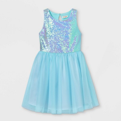 Girls' Sequin Sleeveless Tulle Dress - Cat & Jack™ Aqua