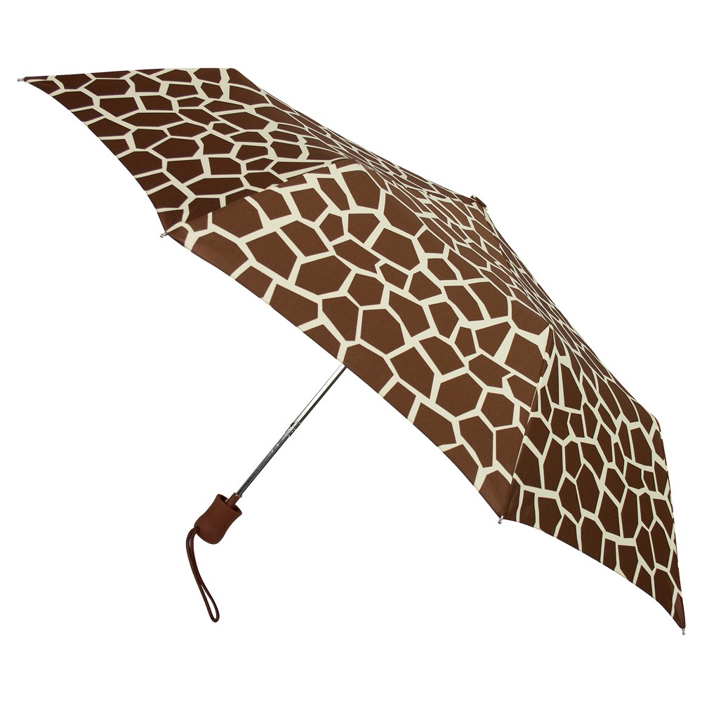Auto Open Compact Umbrella - Giraffe Print, Brown