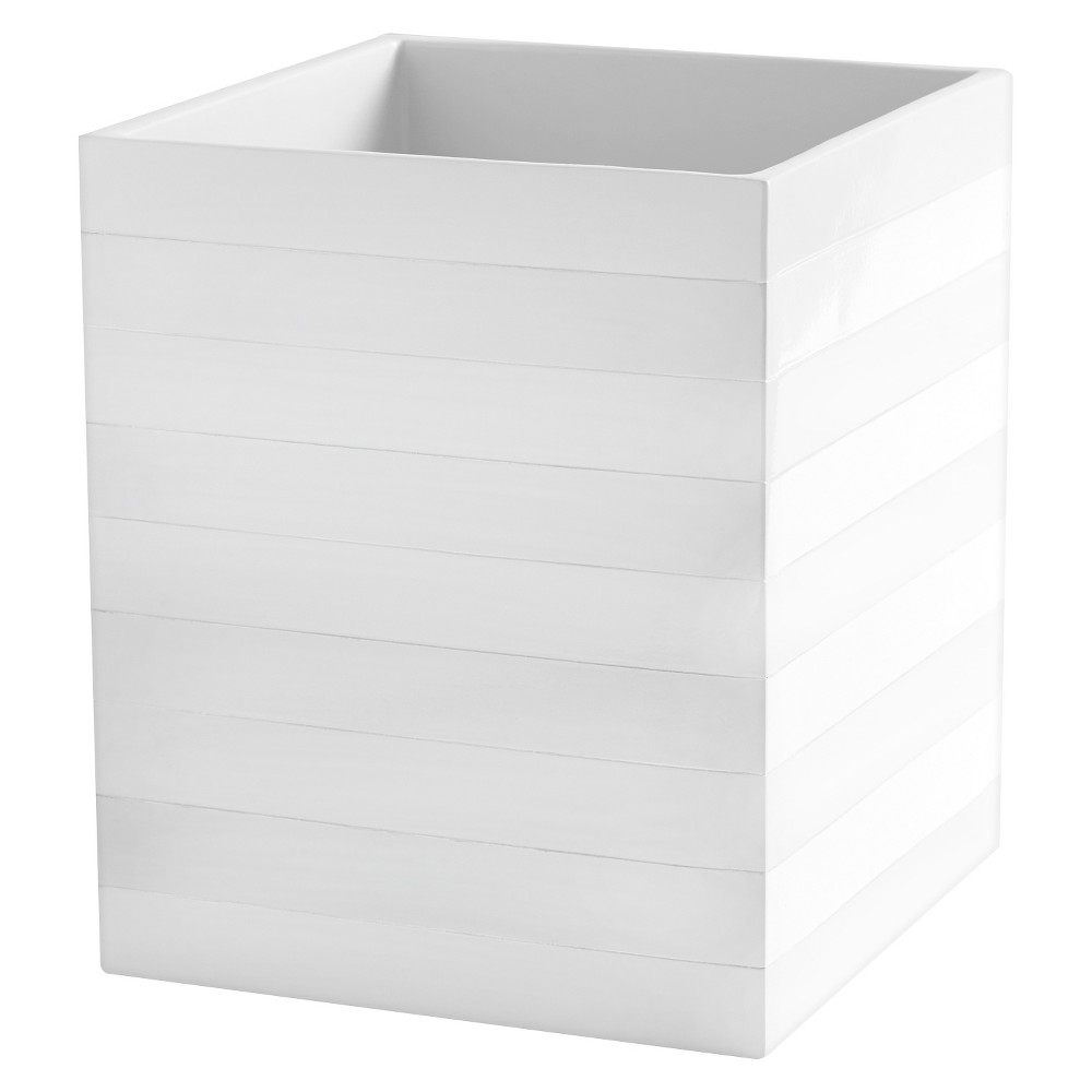 Cabana Stripe Accessories Wastebasket - White -Kassatex