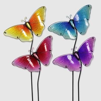 "4pk 26"" Resin/Glass Butterfly Garden Stakes - Exhart"