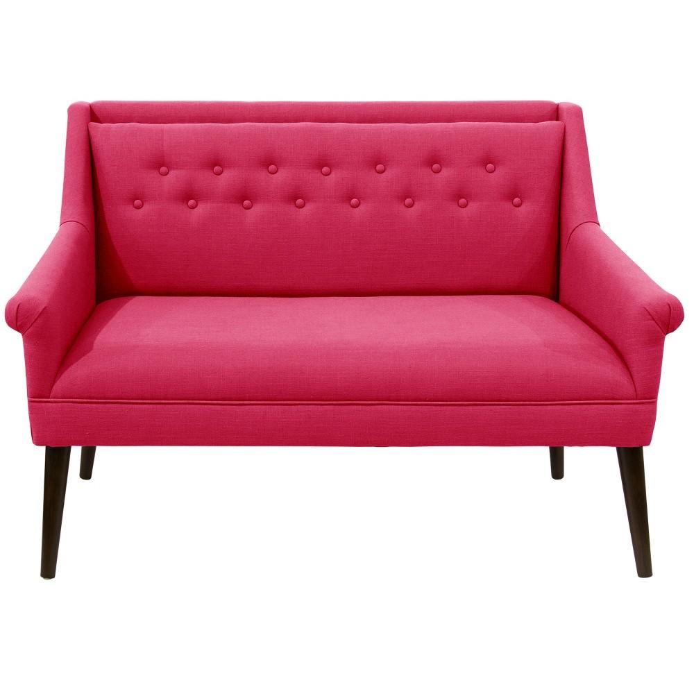 Button Tufted Settee Fuchsia Linen - Skyline Furniture