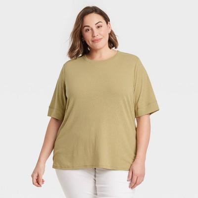 Women's Plus Size Linen T-Shirt - Ava & Viv™