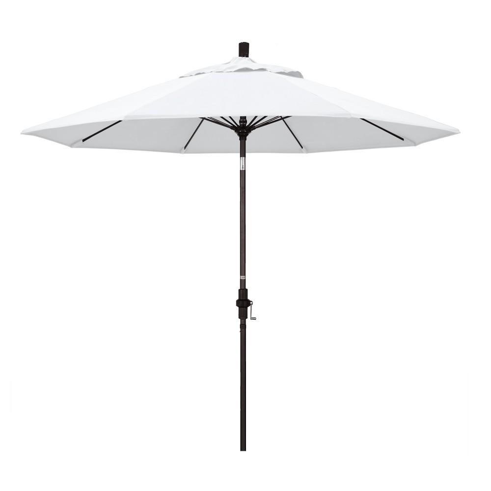 Image of 9' Aluminum Collar Tilt Crank Patio Umbrella - White Olefin