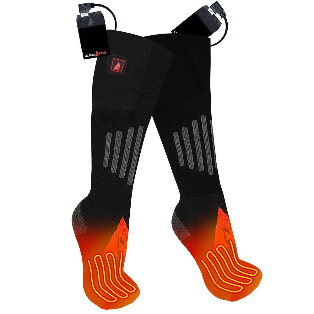 Image of ActionHeat Wool 5V Battery Heated Socks - Black L/XL, Size: Large/XL