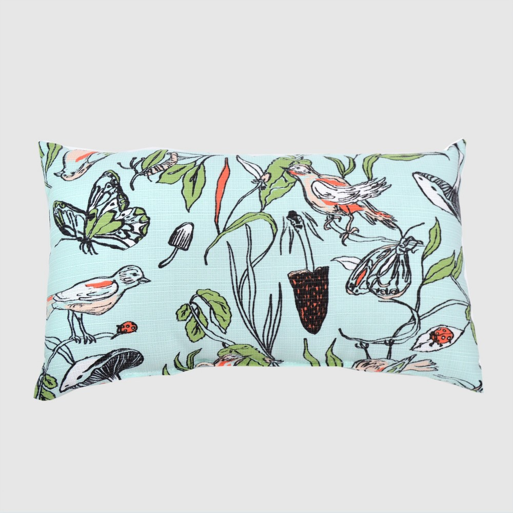 Best Online Oversize Lumbar Birds Butterflies Outdoor Pillow Blue Opalhouse