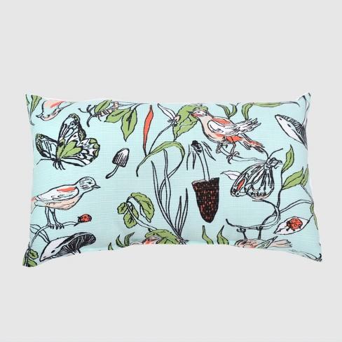 Oversize Lumbar Birds & Butterflies Outdoor Pillow Blue - Opalhouse™ - image 1 of 1