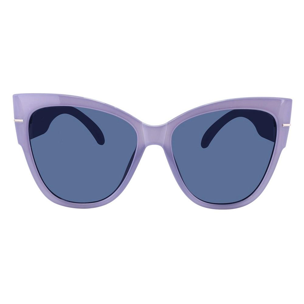 Women's Oversized Cat Eye Sunglasses -Milky Light Blue with Solid Gray lens