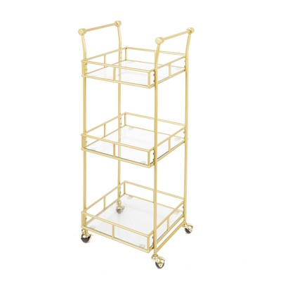 Collier 3 Tier Square Bar Cart Gold - Silverwood