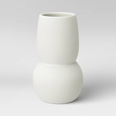 "8"" x 5"" Round Textured Ceramic Vase White - Project 62™"