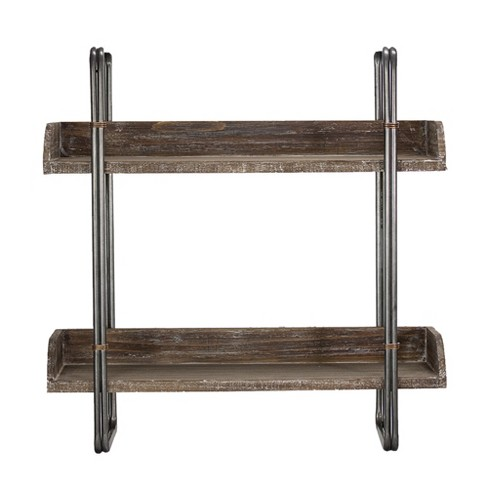 """24"""" x 23.7"""" Decorative Wood And Metal Wall Shelf Gray - E2 Concepts - image 1 of 4"""