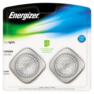 energizer led tap lights, 2 pack, touch on/off, wireless, silver, soft white, 37107