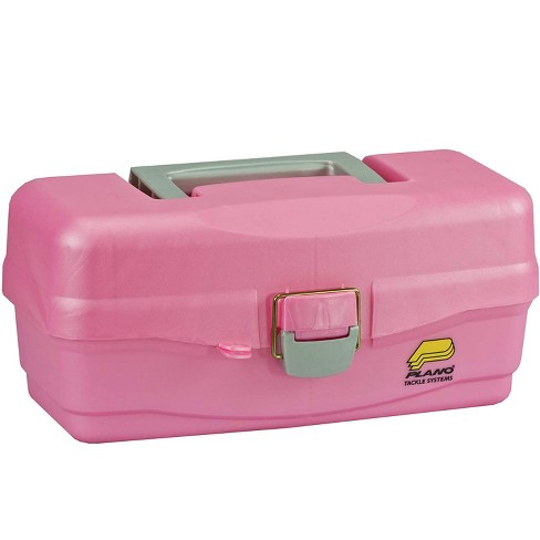 Plano 500089 13.5 Inch Youth Kids Plastic Fishing Portable Tackle Bait Storage Box with Removable Tray and Fixed Dividers, Pink - image 1 of 3