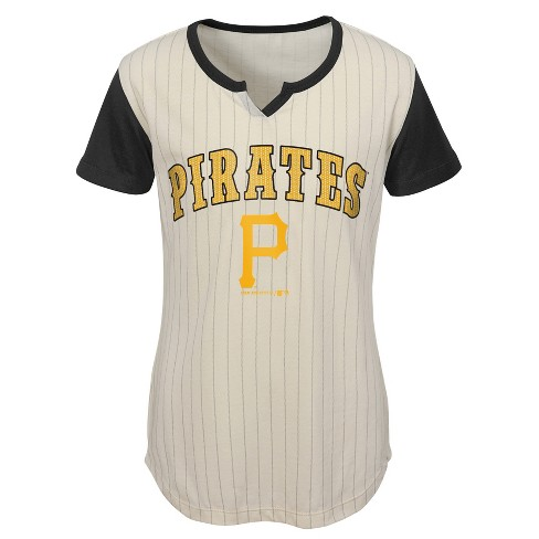 MLB Pittsburgh Pirates Girls' In the Game Cream Pinstripe T-Shirt - image 1 of 1