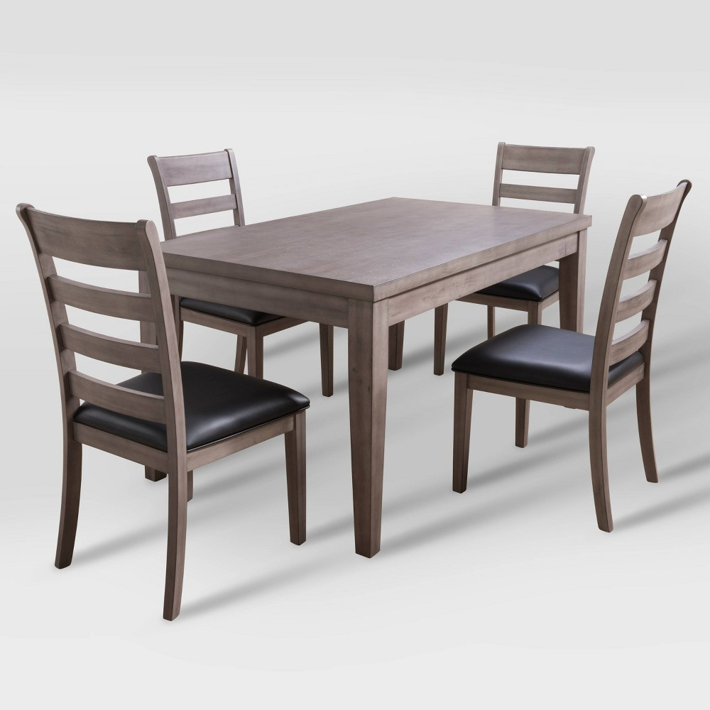 5pc New York Wood Dining Set Washed Gray Corliving