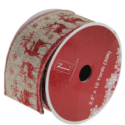 """Northlight Red and Beige Reindeer Burlap Wired Christmas Craft Ribbon 2.5"""" x 10 Yards"""
