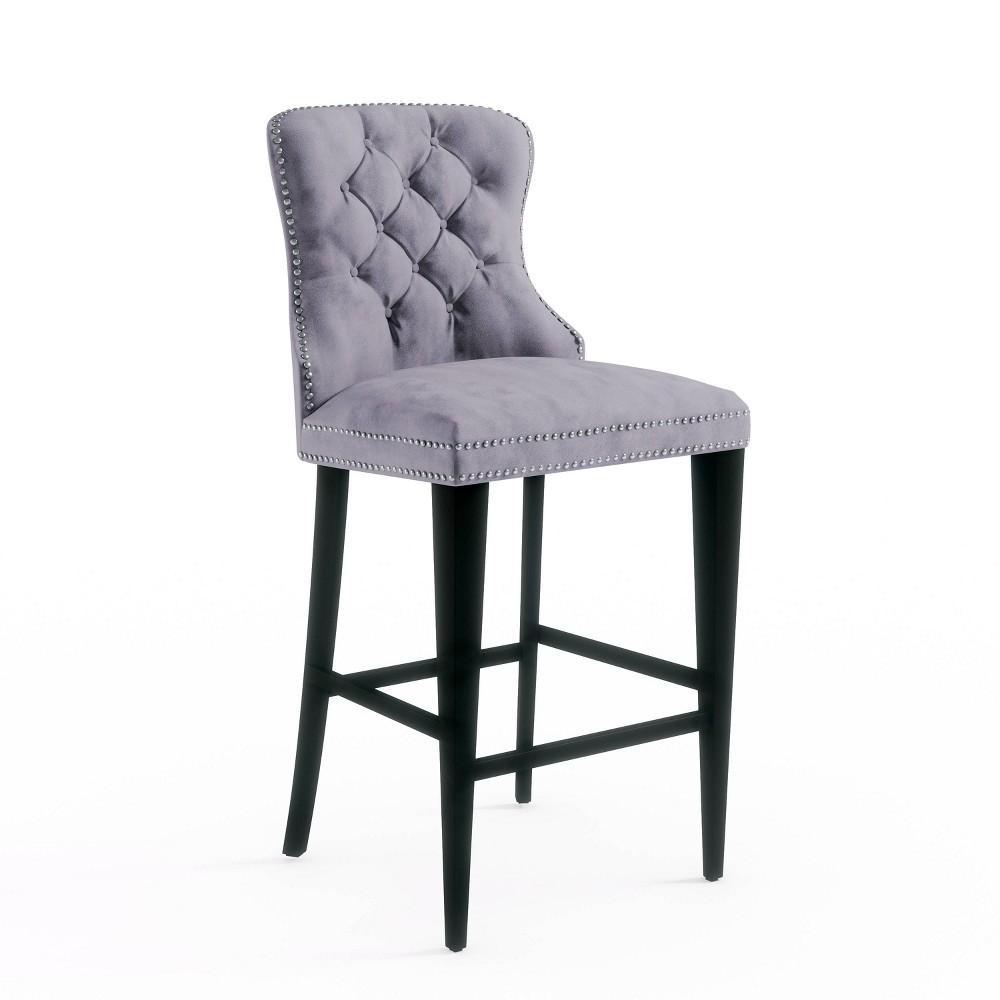 Image of 30 Monet Tufted Velvet Bar Stool Gray - Abbyson Living
