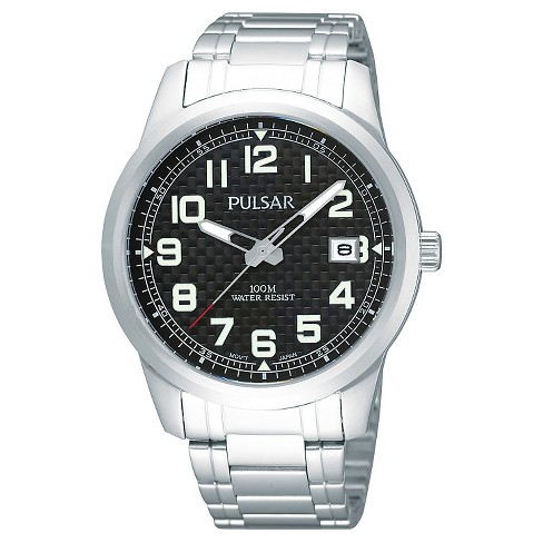Men's Pulsar Calendar Watch - Silver Tone with Black Dial - PXHA07X - image 1 of 1