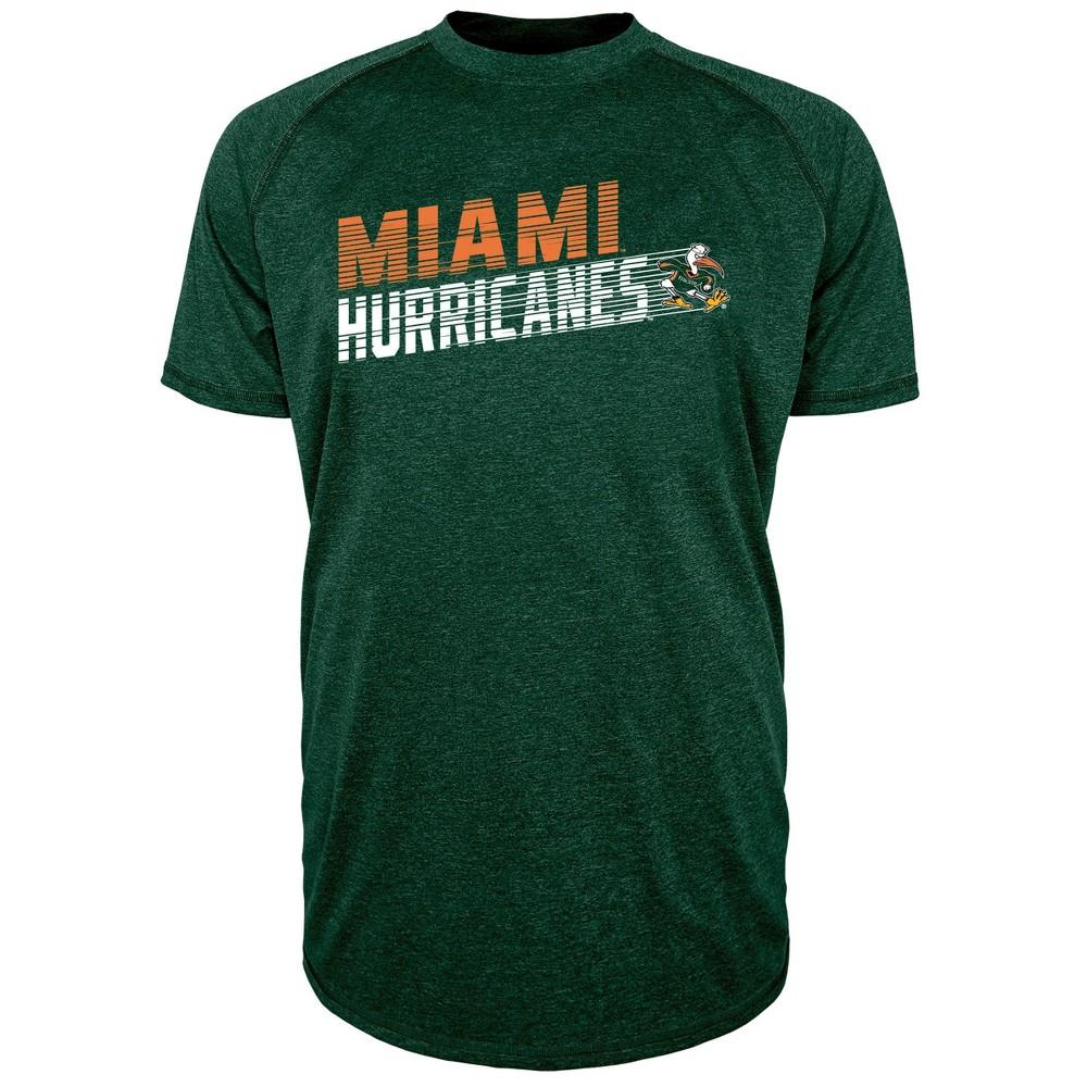 Miami Hurricanes Men's Short Sleeve Raglan Performance T-Shirt - M, Multicolored