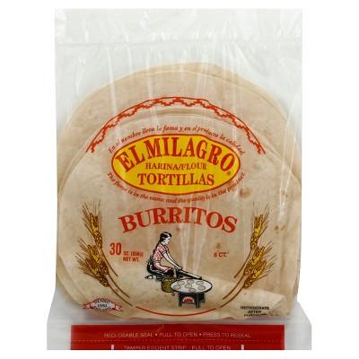 El Milagro Burrito Size Flour Tortillas - 30oz/8ct