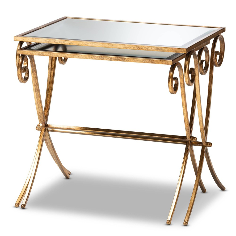Image of 2pc Ambre Finished Metal and Mirrored Glass Stackable Accent Tray Table Set Gold - Baxton Studio
