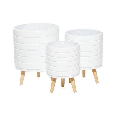 Set of 3 Wood Striped Planters - CosmoLiving by Cosmopolitan