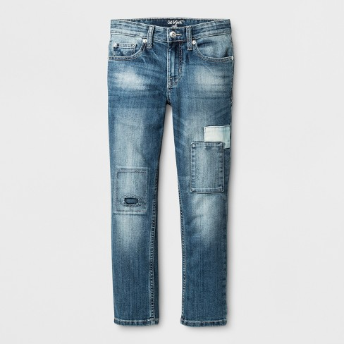 Boys' Light Wash Patched Skinny Denim - Cat & Jack™ Blue - image 1 of 3