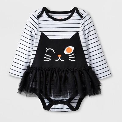 Baby Girls' Cat Face Tulle Tutu Bodysuit Dress - Cat & Jack™ White 12M
